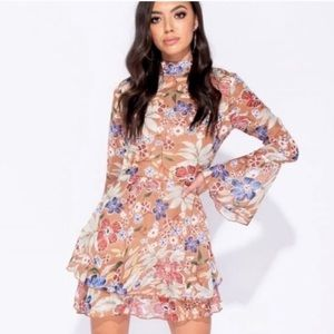 Blossom & Thorn - Floral Flare Tiered  Mini Dress